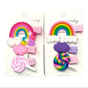 Rainbow, Clouds and Lollipops Girls Hair Barrettes
